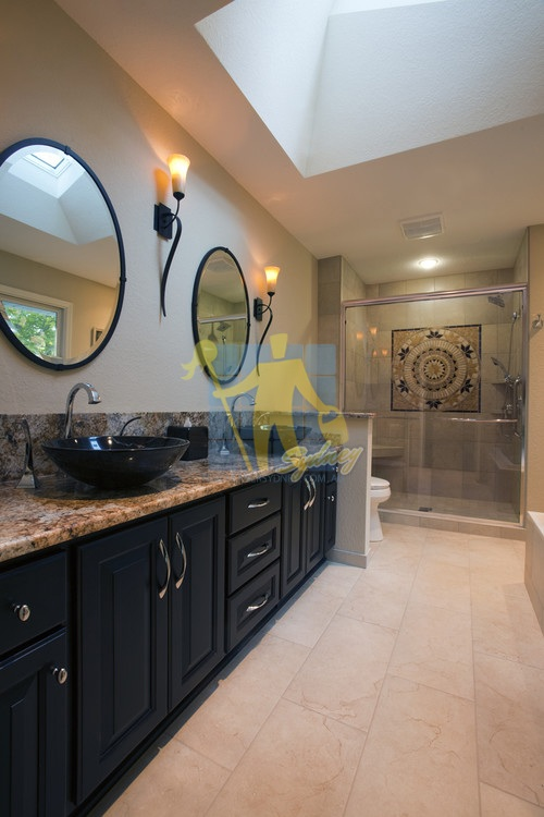 contemporary bathroom with marble tile floors and wooden cabinet and shower4