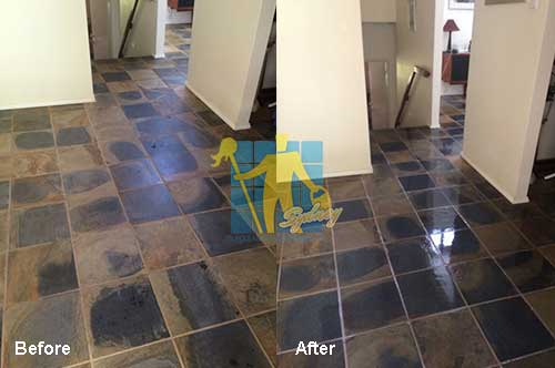 before and after cleaning and sealing travertine floor tiles