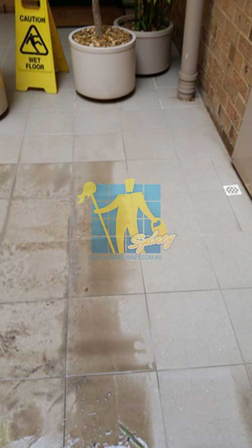 before and after cleaning porcelain floor tiles
