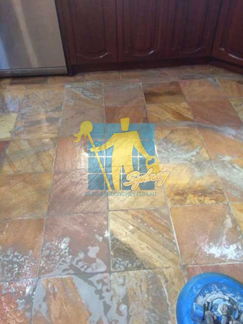 during cleaning slate floor tiles