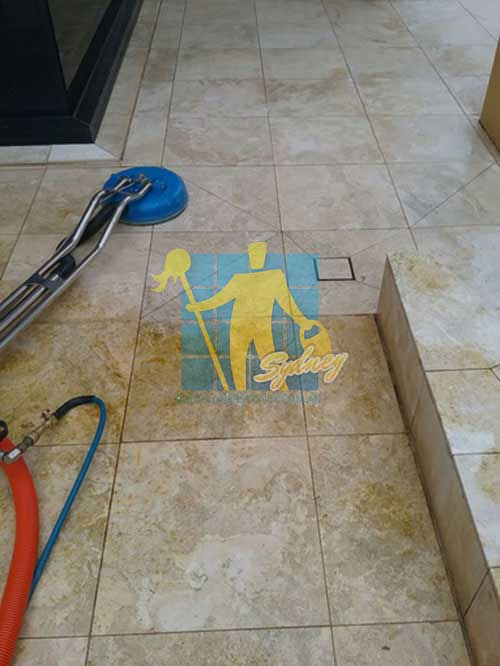 during cleaning travertine floor tiles