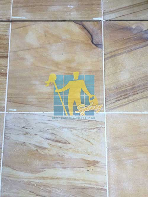 travetine tile floor before and after cleaning grout lines