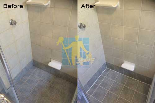 bathroom floor and wall before and after cleaning and sealing