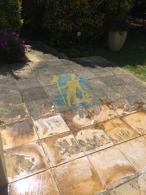 outdoor sandstone floor before and after cleaning