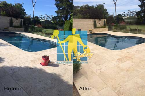 outdoor travertine pavers around pool before and after photos