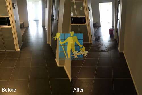 porcelain floor before and after cleaning in Langwarrin