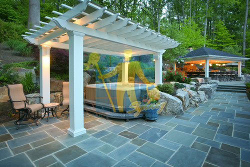 bluestone outdoor traditional patio irregular shape white grout lines