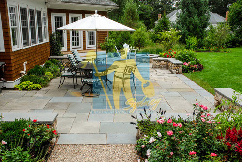 Hawkesbury bluestone tiles rectangular patio dining outdoor grey with grass after Mould & Algae Treatment