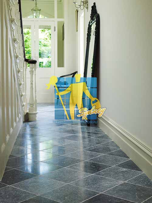 Mount Lewis bluestone tumbled tile indoor hallway white grout after High Pressure Cleaning