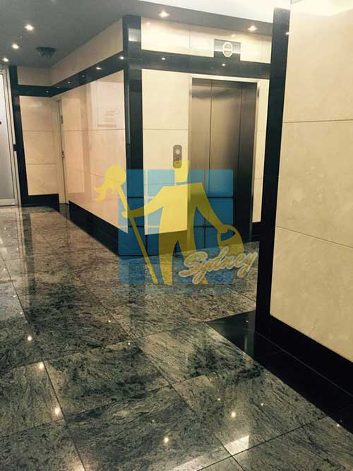 highly polished granite wall and floor tiles give this building a high end finish