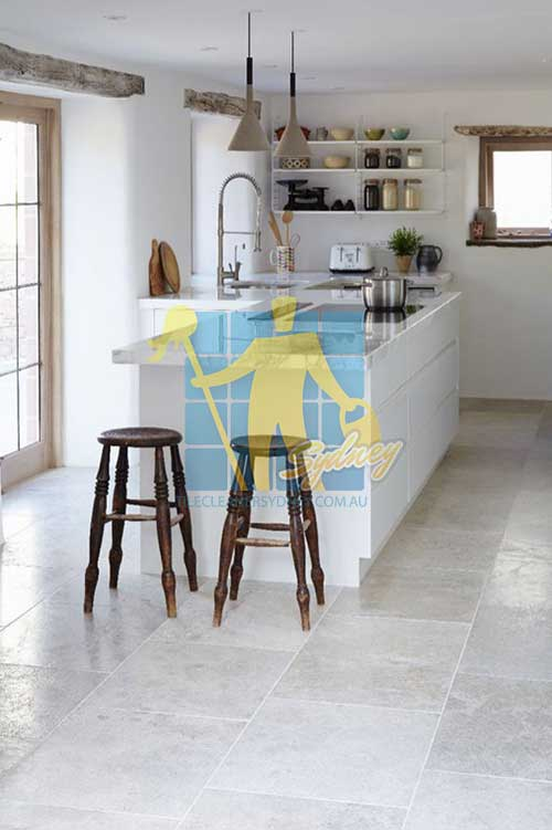 kitchen Grey shiny honed and polished limestone floor