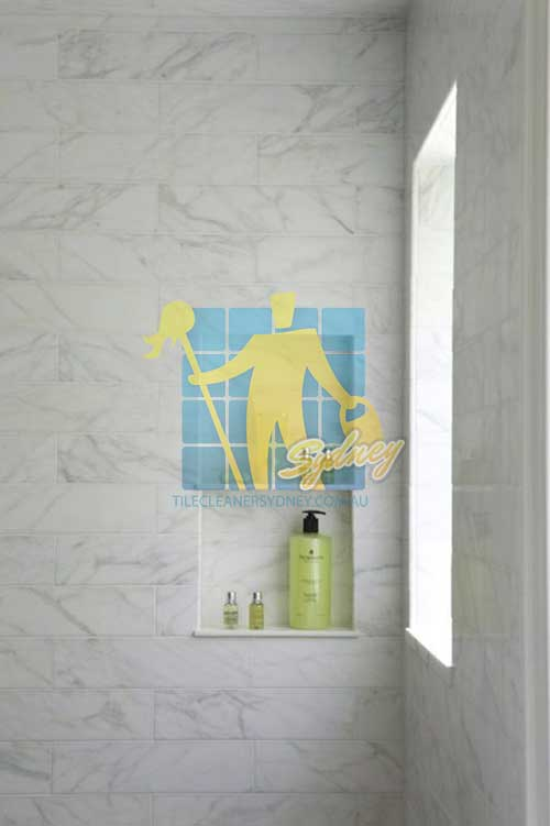 marble tiled shower with window