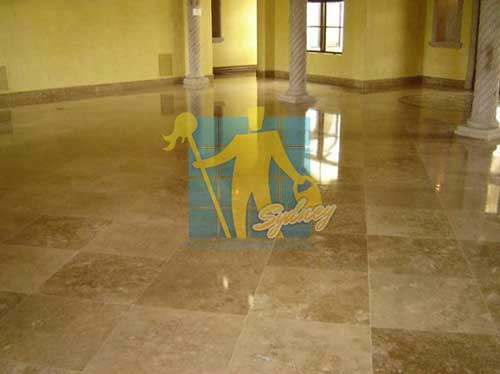 high gloss travertine tile floor