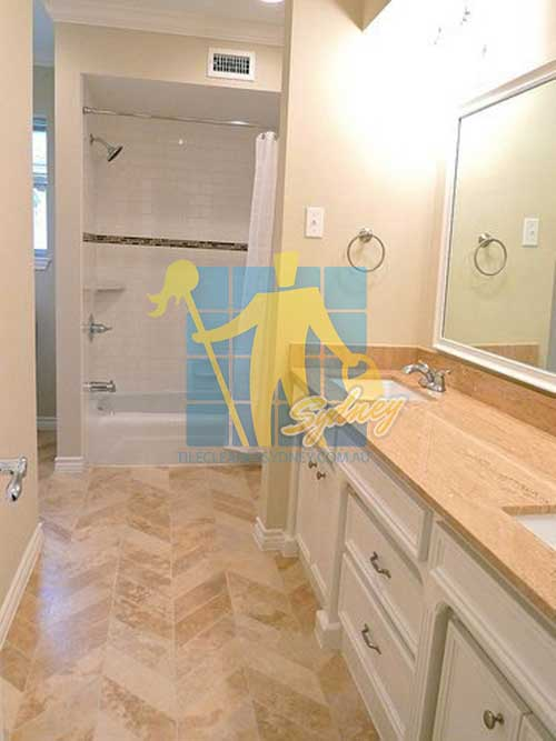honed and polished travertine bathroom floor