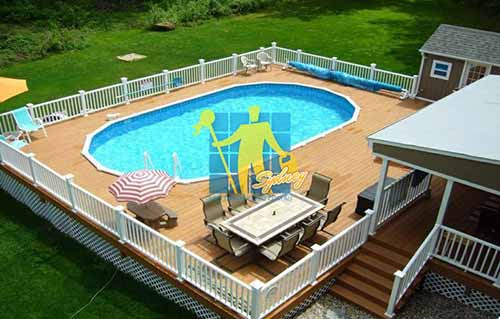 light brown timber pool deck