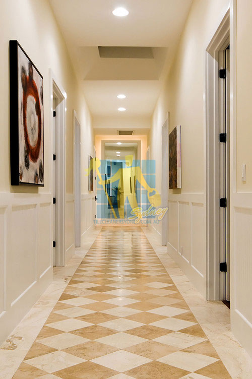 Northern Beaches marble tiles in hallway with traditional design pattern different colours after marble grinding