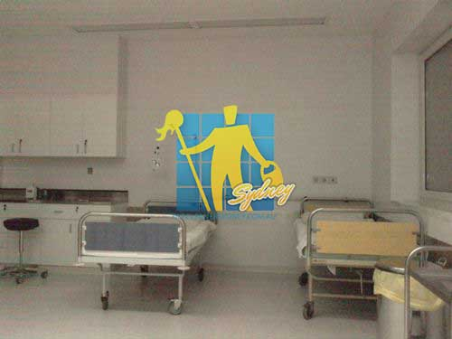 hospital room with cleaned floor