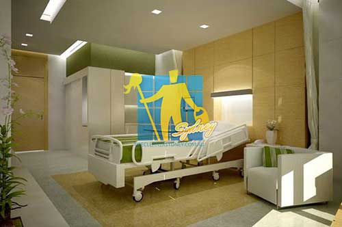 hospital room with cleaned tiles floor