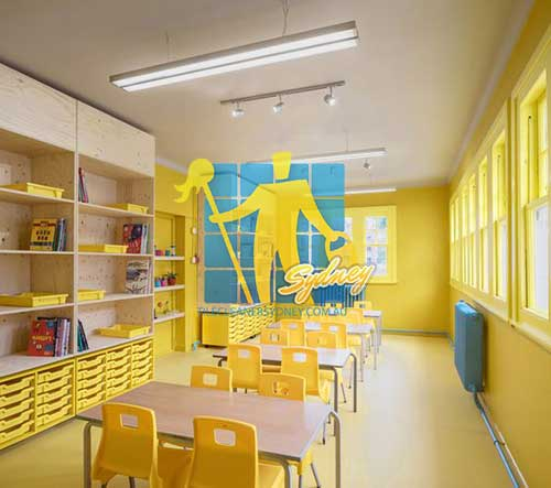 yellow classroom in private school