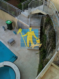 maintenance outdoor limestone floor stairs pool cleaning