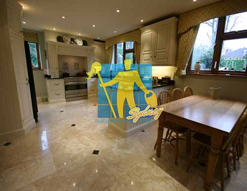 Polished Travertine Stone Tile Floor Kitchen & Dining Sydney