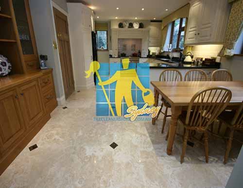 tile_repair Polished Travertine Stone Tile Floor Kitchen & Dining Sealed after tile repair and replacement